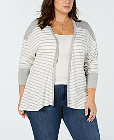 Eyeshadow Trendy Plus Size Striped Cardigan