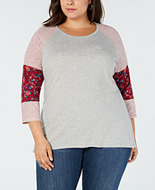 Eyeshadow Trendy Plus Size Colorblocked Top