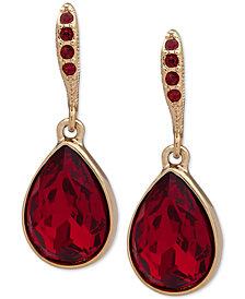 Givenchy Gold-Tone Stone Teardrop Drop Earrings