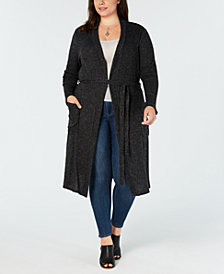 Monteau Trendy Plus Size Open-Front Cardigan