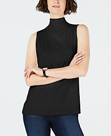 Charter Club Sleeveless Solid Textured Mock Neck Top, Created for Macy's