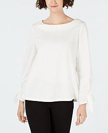 Charter Club Petite Tie-Cuff Blouse, Created for Macy's