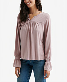 Lucky Brand Split-Neck Peasant Top