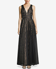 Betsy & Adam Sheer-Overlay Metallic Gown