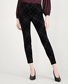 Maison Jules Flocked Plaid Pants, Created for Macy's