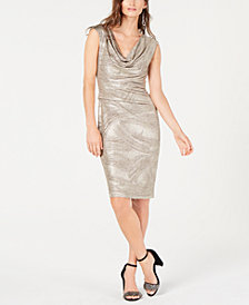 Connected Petite Cowl-Neck Metallic Dress