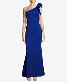 One-Shoulder Ruffled Scuba Gown