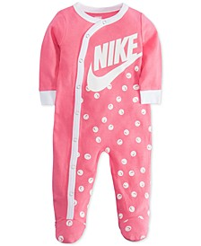 Baby Girls Smiley-Print Footed Cotton Coverall