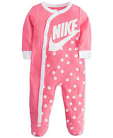 Nike Baby Girls Smiley-Print Footed Cotton Coverall