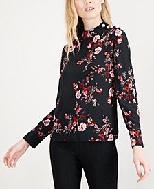 Maison Jules Embellished Floral-Print Blouse, Created for Macy's