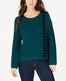 Style & Co Velvet Lace-Up Sweater, Created for Macy's