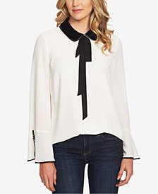 CeCe Collared Tie-Neck Blouse
