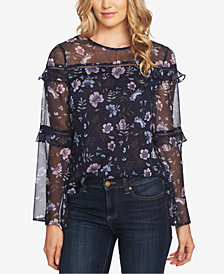 CeCe Bloomsbury Tiered-Ruffle Blouse