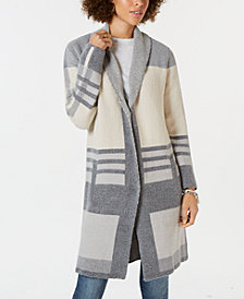 Style & Co Colorblocked Long Cardigan Sweater, Created for Macy's