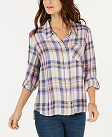 Style & Co Petite Plaid Roll-Tab Shirt, Created for Macy's