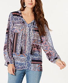 Style & Co Petite Mixed-Media Tasseled-Tie Top, Created for Macy's