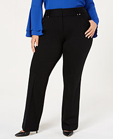 Alfani Plus Size Ponté-Knit Bootcut Pants, Created for Macy's