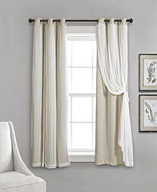 """Lush Décor 63""""x38"""" Grommet Sheer Panels with Insulated Blackout Lining"""