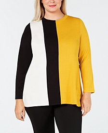 Alfani Plus Size Colorblock Sweater, Created for Macy's