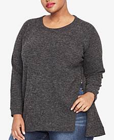 RACHEL Rachel Roy Trendy Plus Size Side-Zip Sweater