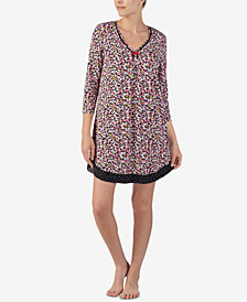 Ellen Tracy Printed 3/4-Sleeve Nightgown