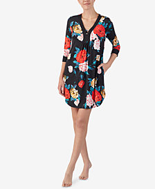 Ellen Tracy Flower-Print Short Caftan