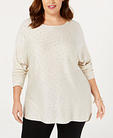I.N.C. Plus Size Embellished Shirttail Sweater, Created for Macy's