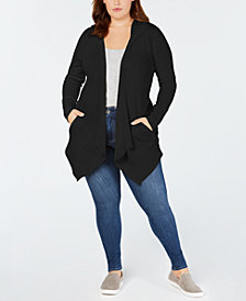 Style & Co Plus Size Hooded Open Cardigan, Created for Macy's