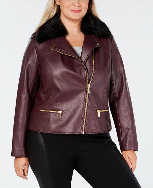 5db9efb9e5f Michael Kors Plus Size Faux-Leather Moto Jacket   Reviews - Jackets ...