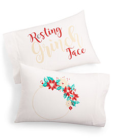 Whim by Martha Stewart Collection Set of 2 Holiday Paired Pillowcases, Created for Macy's