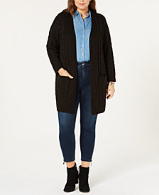 One A Plus Size Cable-Knit Cardigan Sweater