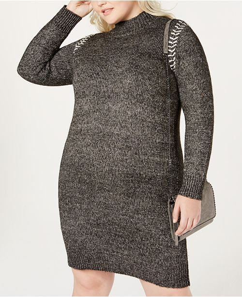6798aa5782c One A Plus Size Whipstitched Sweater Dress   Reviews - Dresses ...