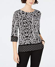 Charter Club 3/4-Sleeve Mixed-Print Border Top, Created for Macy's