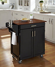 Home Styles Cuisine Cart Black Finish with Oak Top