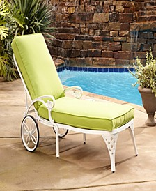 Biscayne White Chaise Lounge Chair Green Apple Cushion