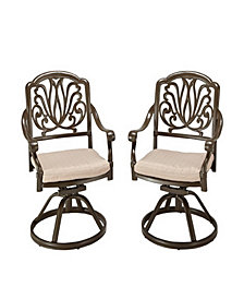 Home Styles Floral Blossom Taupe Swivel Chair