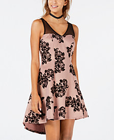 Trixxi Juniors' Flocked Floral-Print High-Low Dress