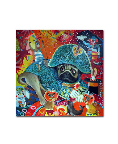 "Trademark Global Oxana Ziaka 'Circus Pug' Canvas Art - 14"" x 14"" x 2"""