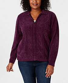 Alfred Dunner Plus Size Classics Chenille Zip-Up Cardigan
