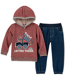 Kids Headquarters Baby Boys 2-Pc. Marled Truck Hoodie & Jeans Set