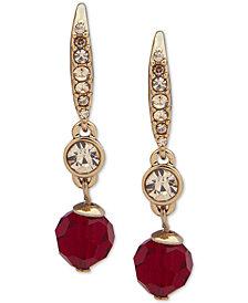 Lauren Ralph Lauren Gold-Tone Crystal & Bead Drop Earrings