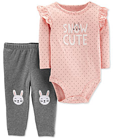 Carter's Baby Girls 2-Pc. Cotton Snow Cute Bodysuit & Pants Set
