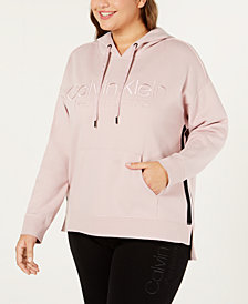 Calvin Klein Performance Plus Size Logo French Terry Lined High-Low Hem Hoodie