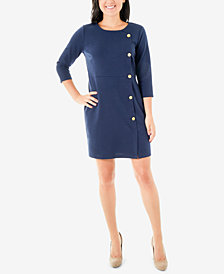 NY Collection Petite Side-Button Ponté-Knit Dress