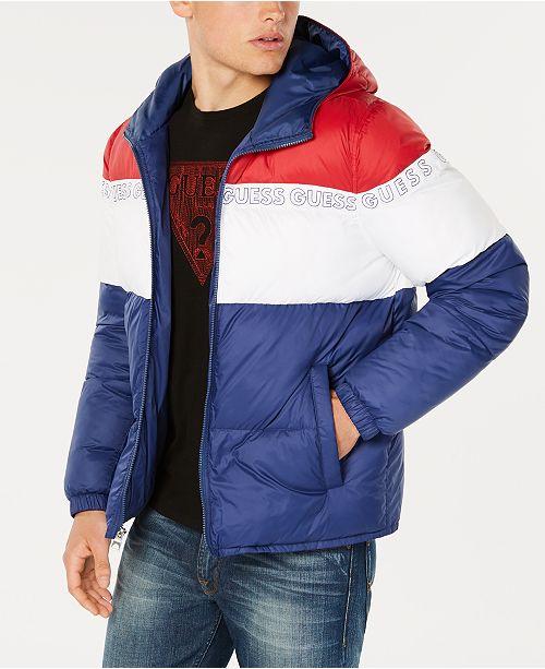 66369121477d GUESS Men s Colorblocked Logo-Print Hooded Puffer Coat   Reviews ...