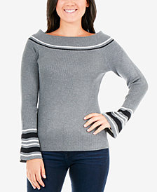 NY Collection Petite Varsity-Striped Boat-Neck Sweater