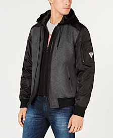 GUESS Men's Colorblocked Mix-Media Bomber Jacket with Removable Hoodie