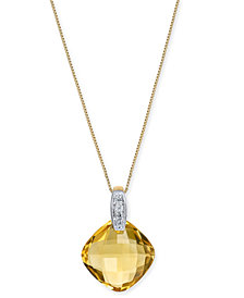 "Citrine (6-3/8 ct. t.w.) & Diamond Accent 18"" Pendant Necklace in 14k Gold"
