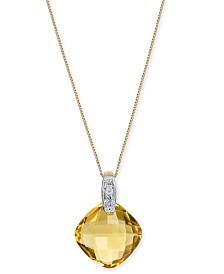 "Citrine (6-3/8 ct. t.w.) & Diamond Accent 18"" Pendant Necklace in 14k Gold"