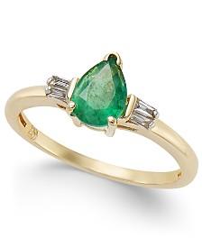 Emerald (3/4 ct. t.w.) & Diamond (1/8 ct. t.w.) Ring in 14k Gold